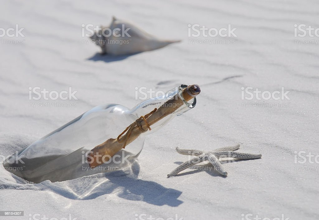 Message in a Bottle  - SOS Help royalty-free stock photo