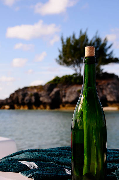 Message in a Wine Bottle - Bermuda stock photo