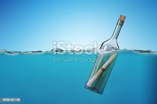 istock SOS message in bottle floating in sea. 3D rendered illustration. 909046148