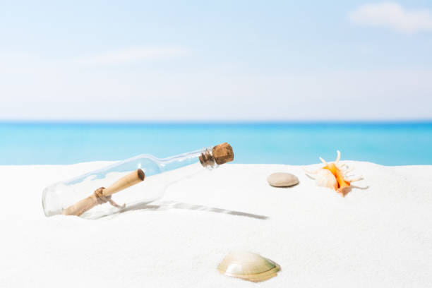 Message in bottle on beach with white sand,  in tropical sea - Photo