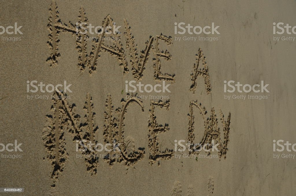 Message in the Sand stock photo