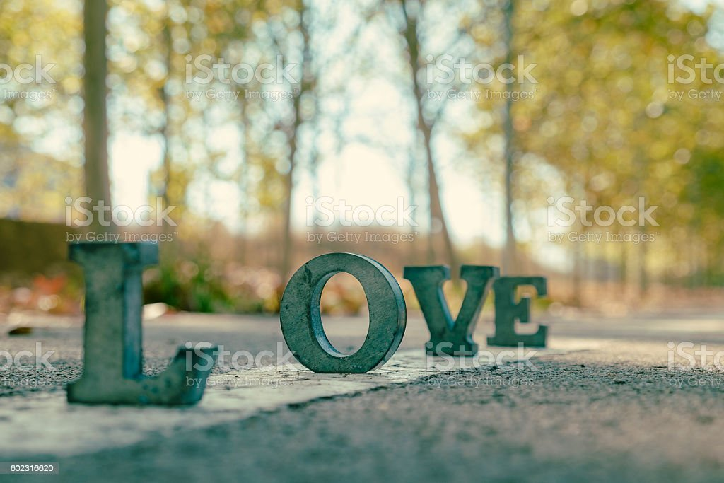 message of love with metal letters stock photo