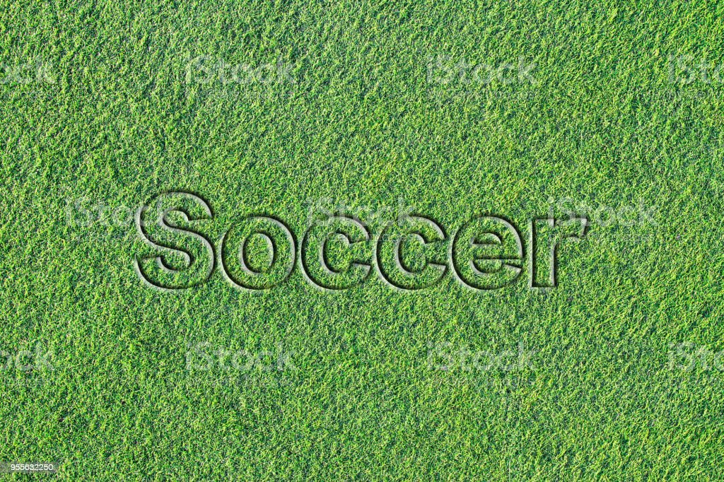 Message on Artificial turf (soccer) stock photo