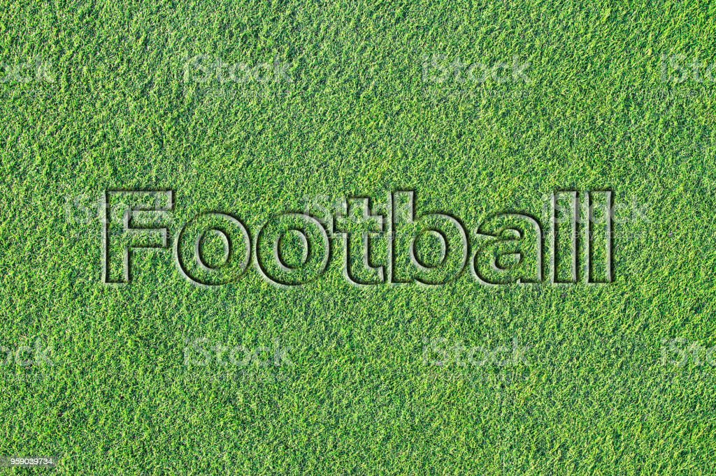 Message on Artificial turf (Footboll) stock photo