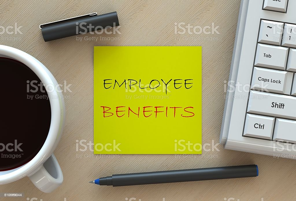 EMPLOYEE BENEFITS, message on business note paper stock photo