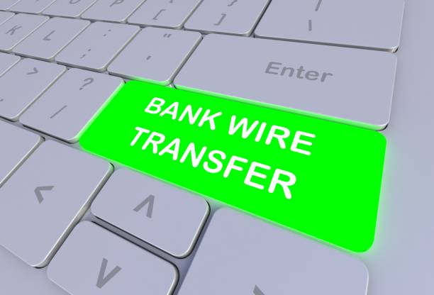 bank wire transfer, message on keyboard, 3d rendering - drut zdjęcia i obrazy z banku zdjęć