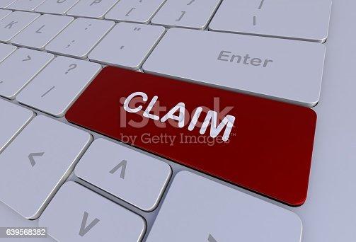 istock CLAIM, message on keyboard 639568382