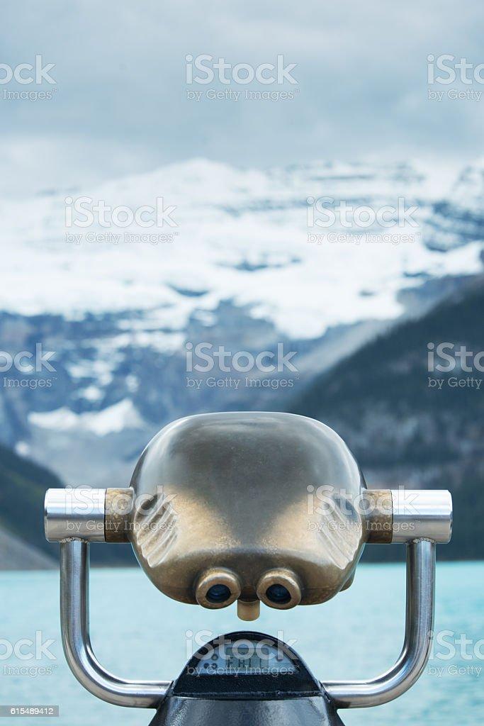 FAIL message on Lake Louise  binoculars, Canadian Rockies stock photo