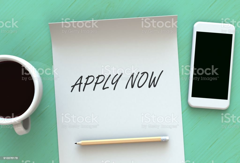 APPLY NOW, message on paper, smart phone and coffee on table, 3D rendering stock photo