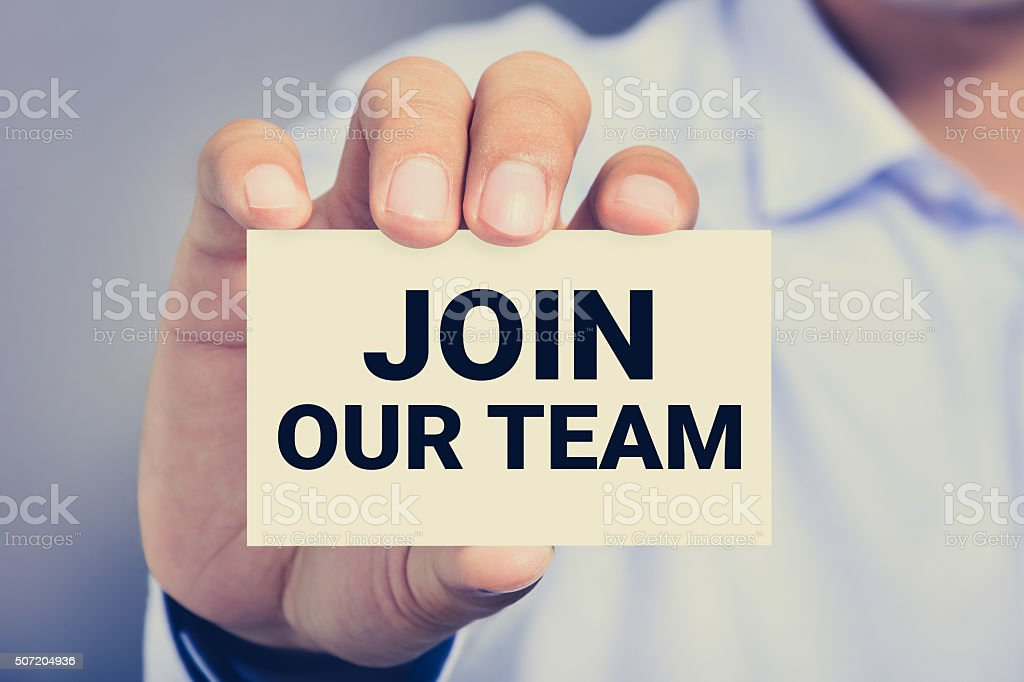 JOIN OUR TEAM, message on the card​​​ foto