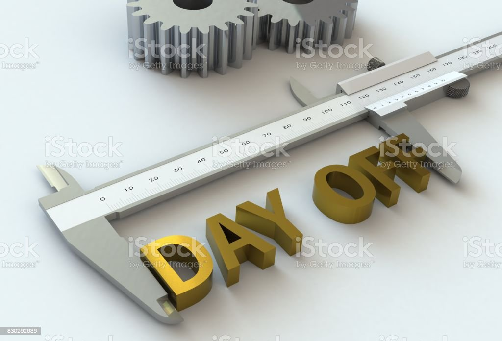 DAY OFF, message on vernier caliper, 3D rendering stock photo