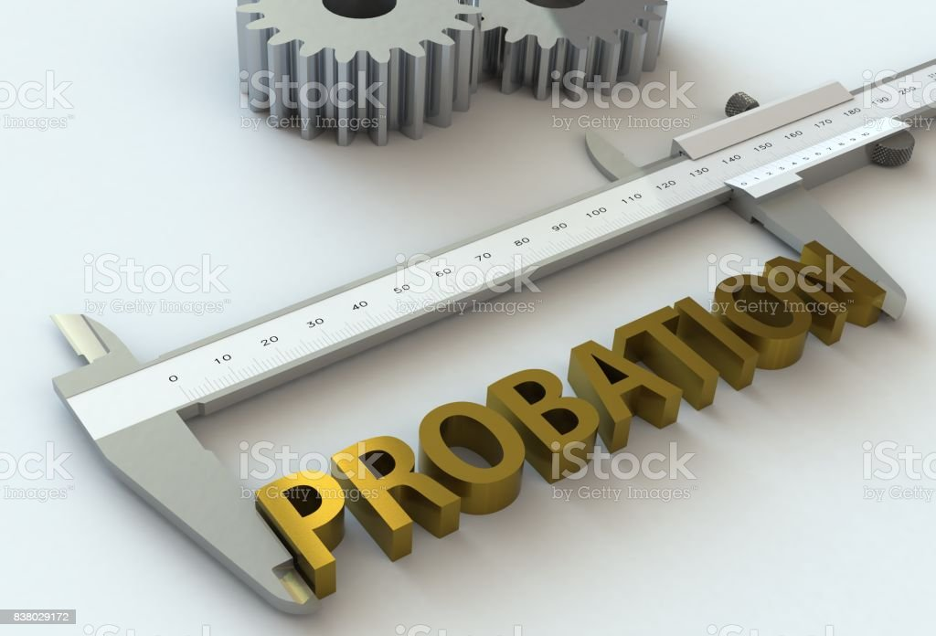 PROBATION, message on vernier caliper, 3D rendering stock photo