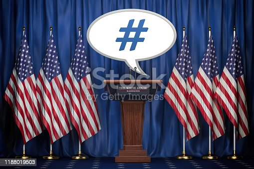 istock Message , tweet or speech bubble of the president of USA in White House. Space for text. 1188019503