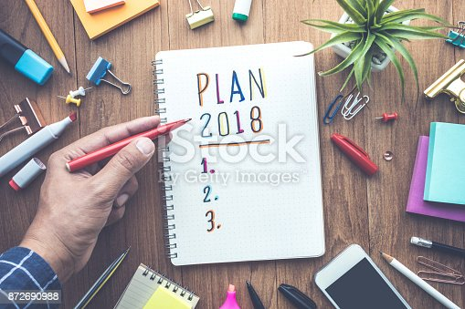 888342518 istock photo PLAN 2018 message with male hand writing on notepad paper 872690988
