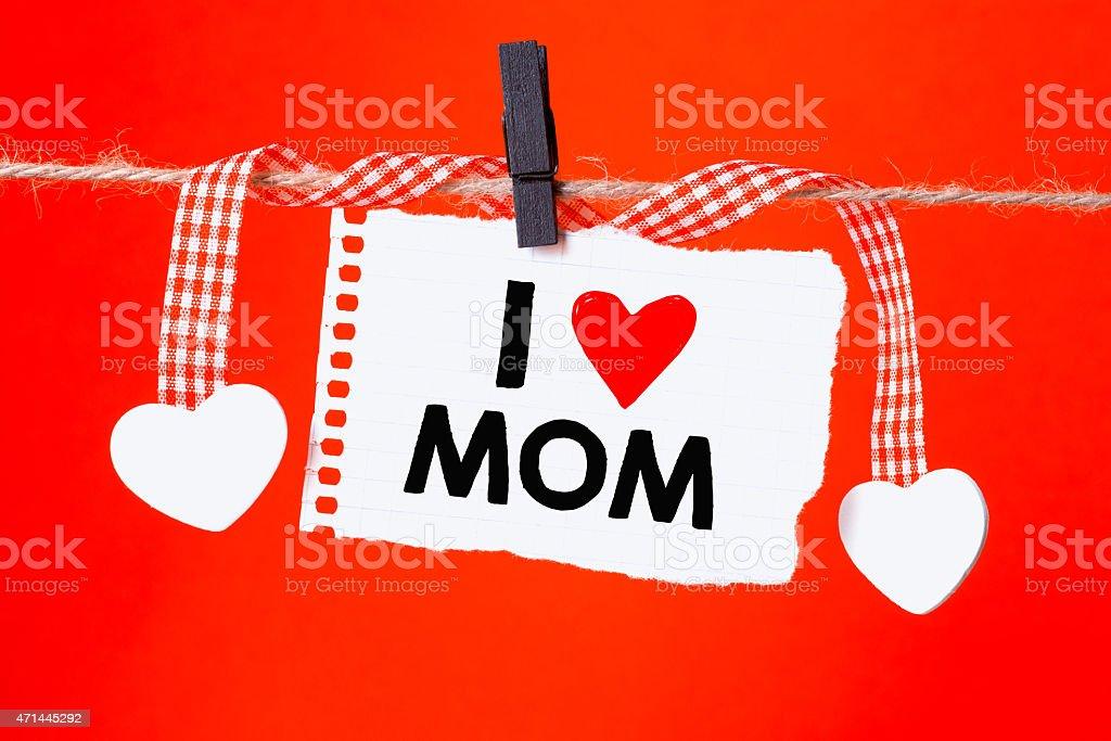 Message written I love mom stock photo