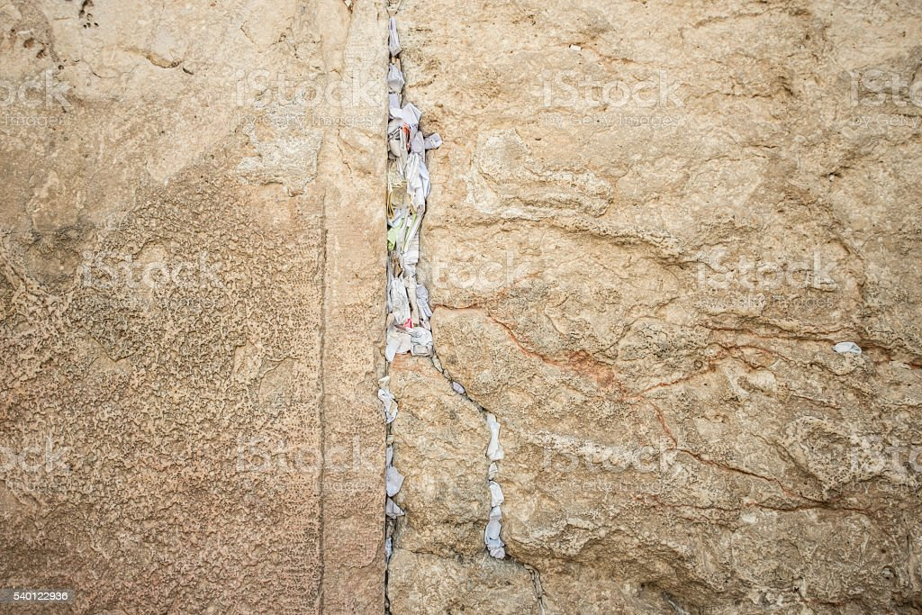 Messages in Western Wall of Jerusalem. - Stock image stock photo