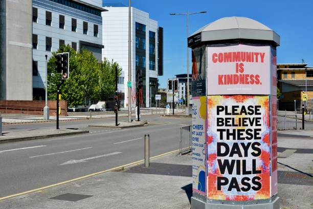 Messages of encouragement on billboards and in shop windows during COVID 19 lockdown stock photo