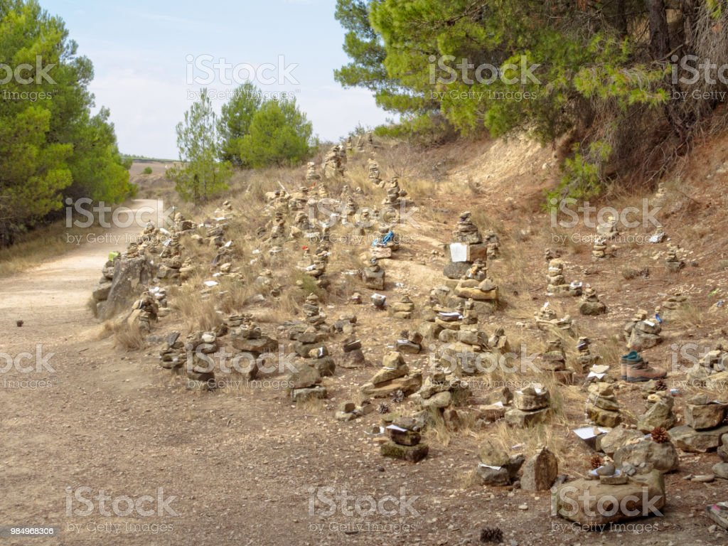 Messages on the Camino - Torres del Rio stock photo