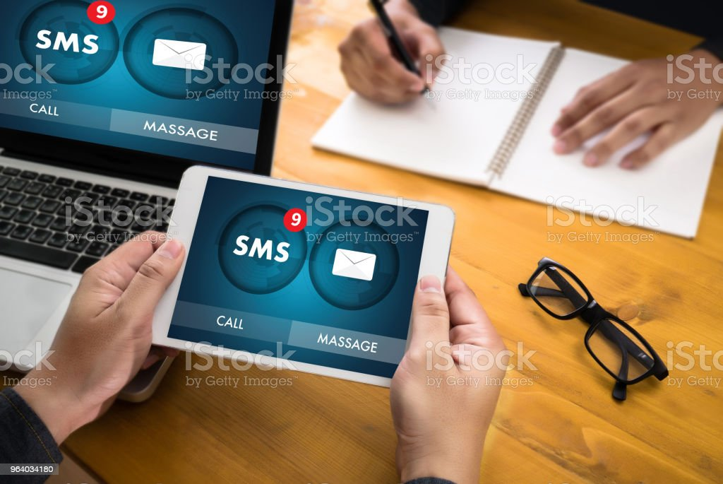 SMS Messaging Communication Notification Alert Reminder sms - Royalty-free Addiction Stock Photo
