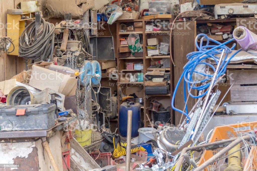 messed garage detail stock photo