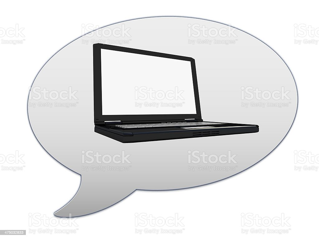 messenger window icon and Laptop Computer PC stock photo