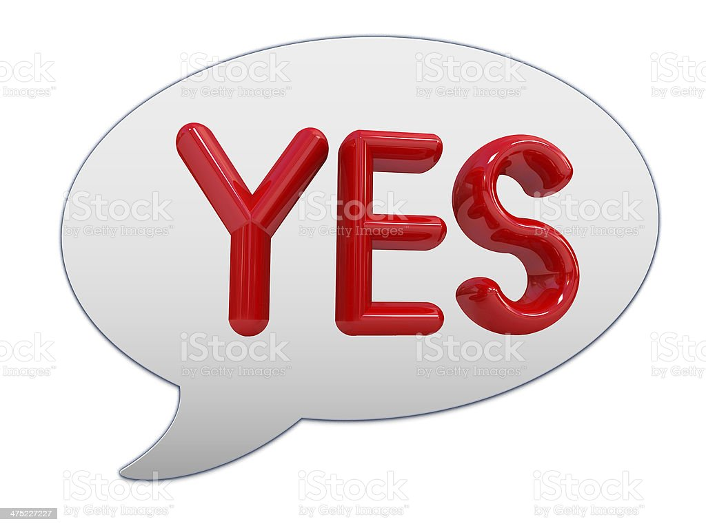 messenger window icon. Red text ' Yes!' royalty-free stock photo