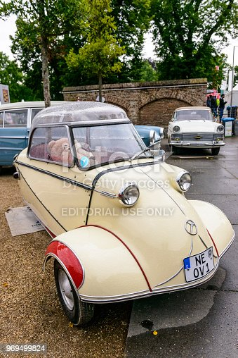 Messerschmitt KR200, or Kabinenroller (Cabin Scooter), microcar or bubble car. The car is on display during the 2017 Classic Days event at Schloss Dyck.