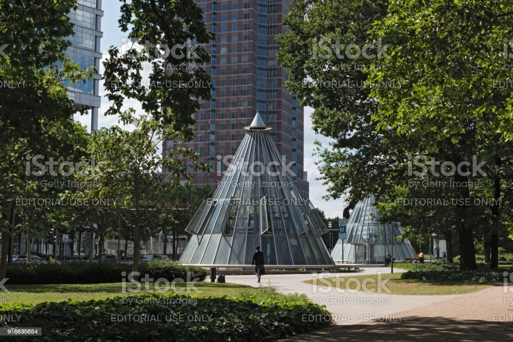 Messeturm and subway station at the Friedrich Ebert Anlage in Frankfurt, Germany stock photo