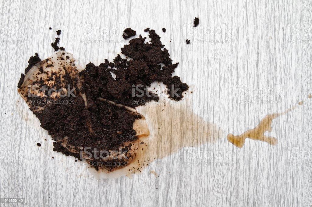 Messthetics coffee grounds spill stock photo