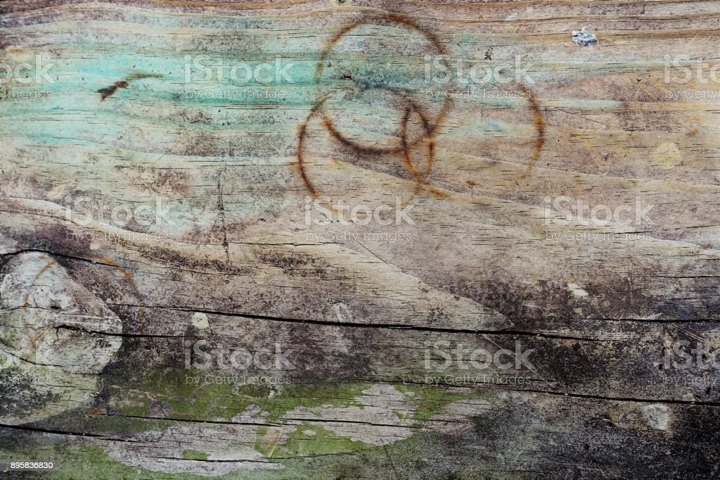 Messthetics - grunge messy wood background with stains , scratches and cracks stock photo
