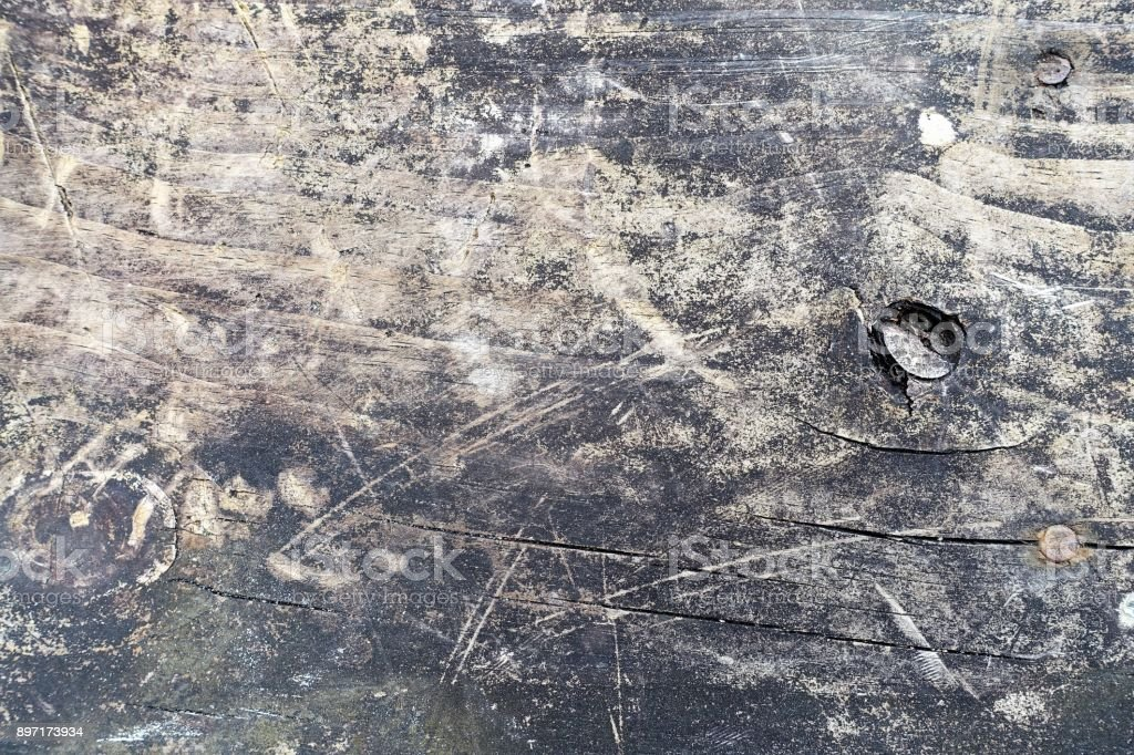 Messthetics: grungy dark wood background with stains and scratches stock photo
