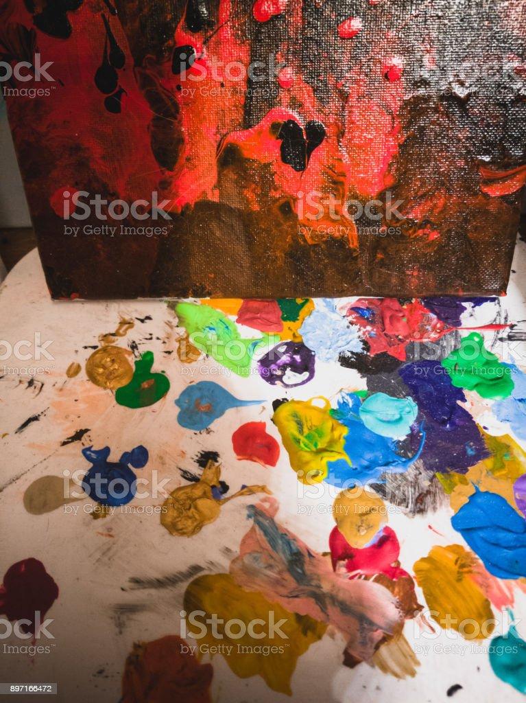 Messthetics : the painter's workspace stock photo