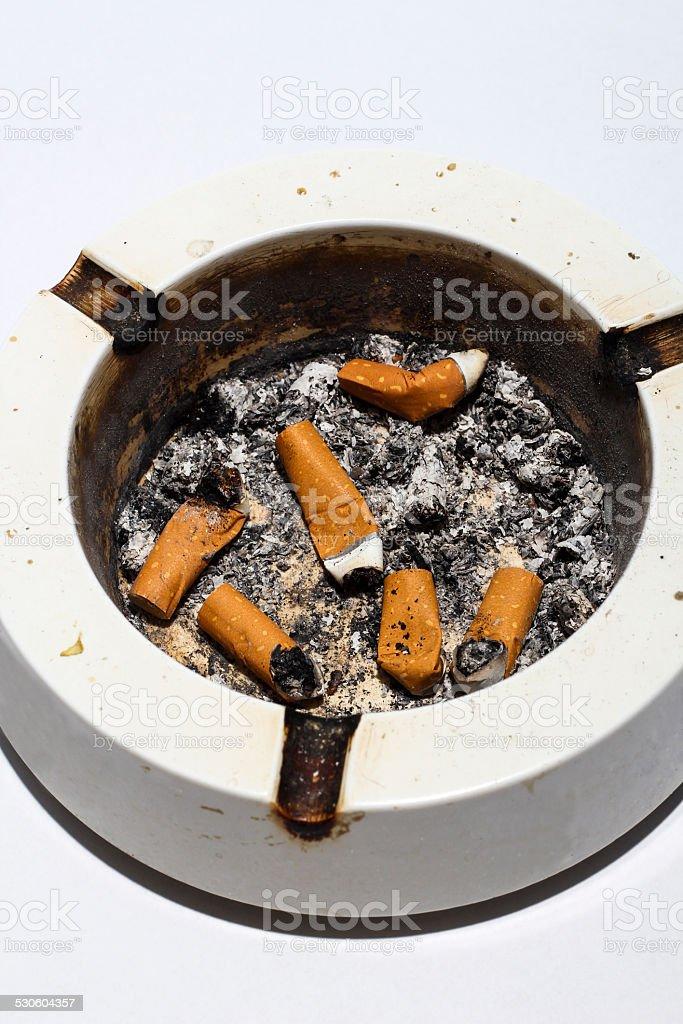 messy ashtray stock photo