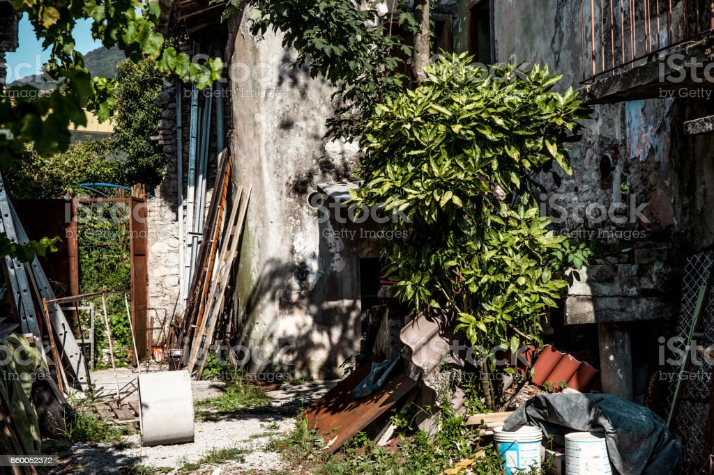 Messy Backyard of an Abandoned House