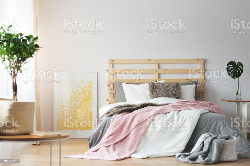 Messy bright bedroom stock photo