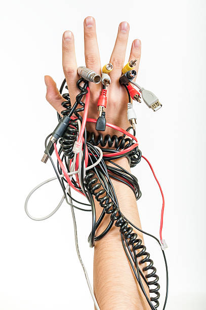Messy cables problem stock photo