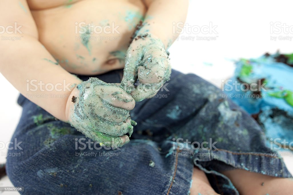 Messy Cake Hands royalty-free stock photo