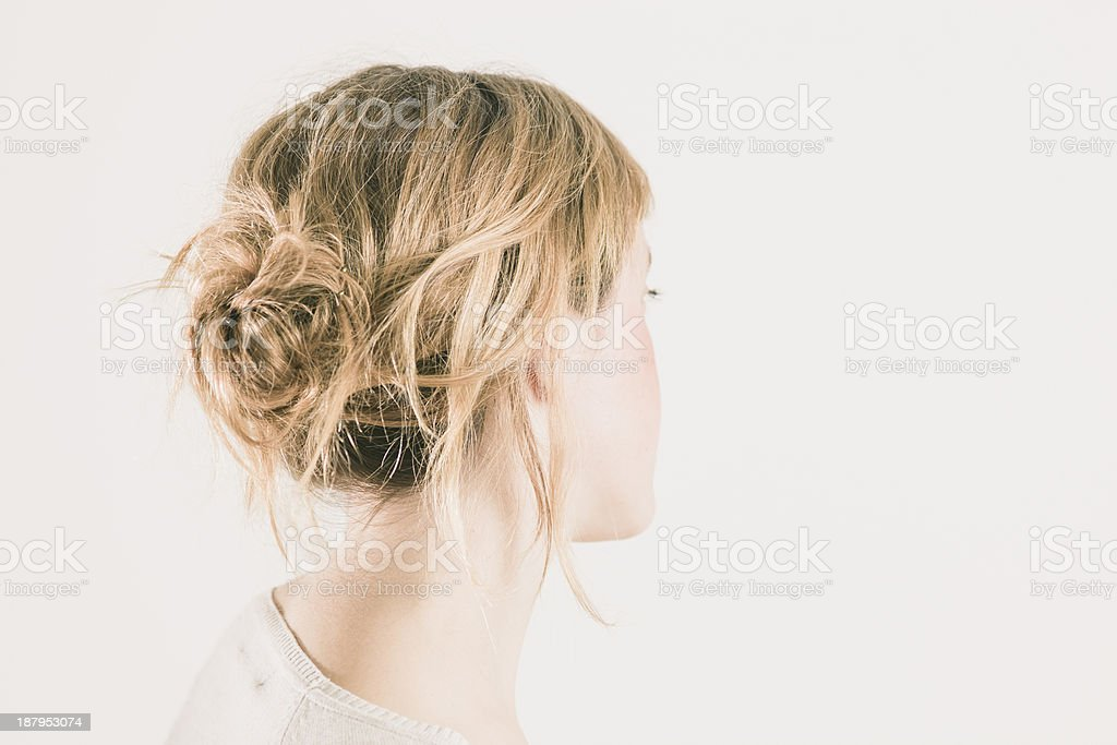 Messy chignon stock photo