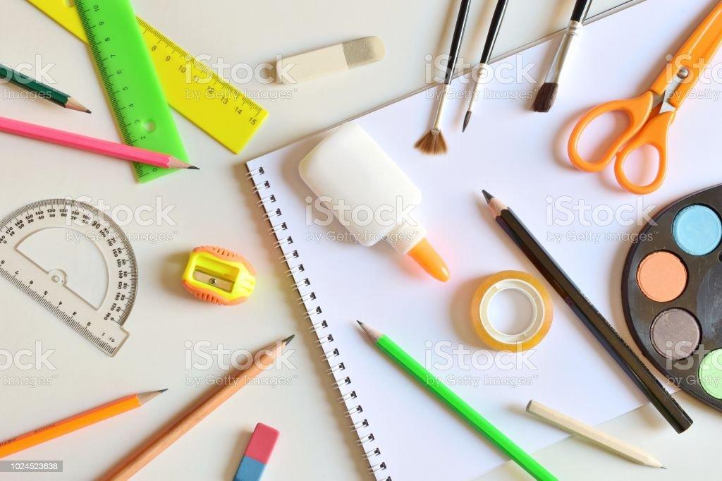 Messy desk stock photo