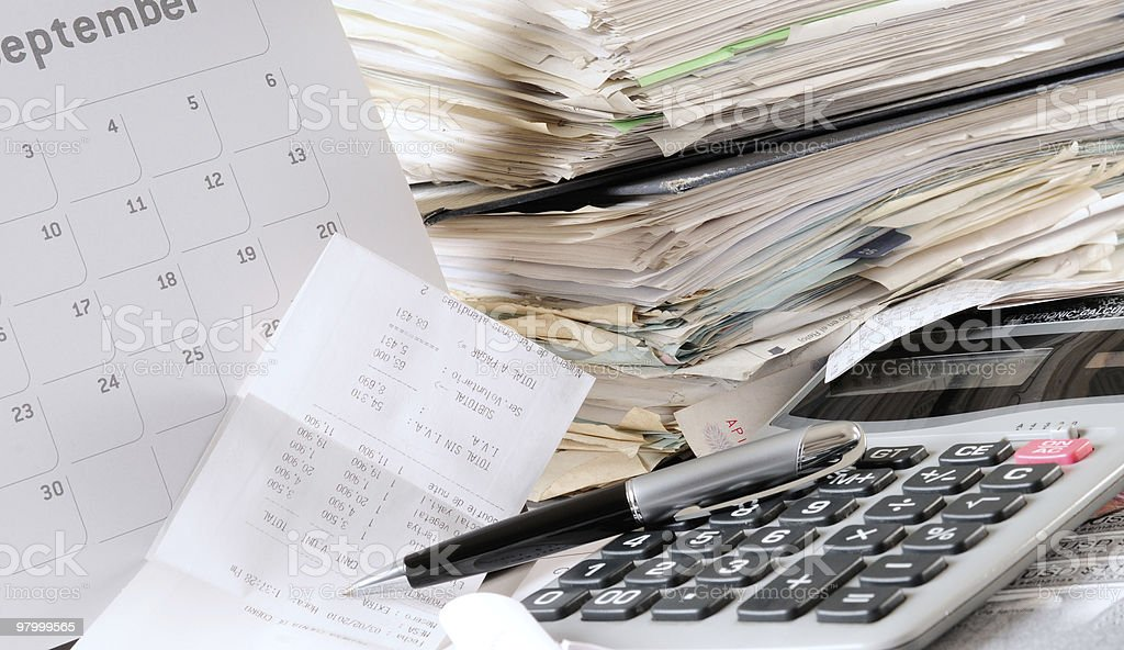 Messy desk. royalty free stockfoto