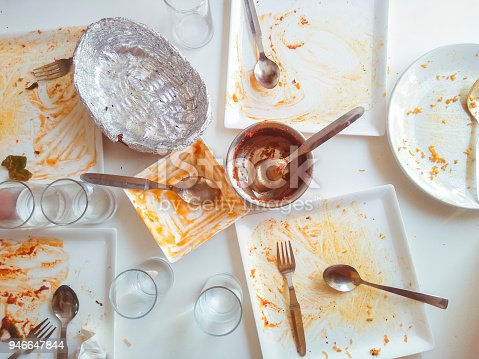 istock Messy dining table and crockery after eating lunch. 946647844