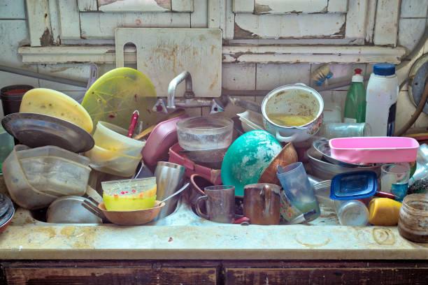 Messy Dirty Kitchen stock photo