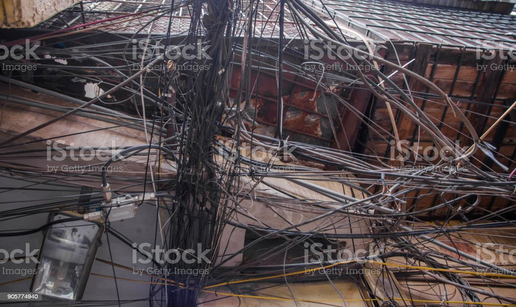 Messy Electric Wiring On The Pole In Hanoivietnam Stock Photo Download Image Now Istock