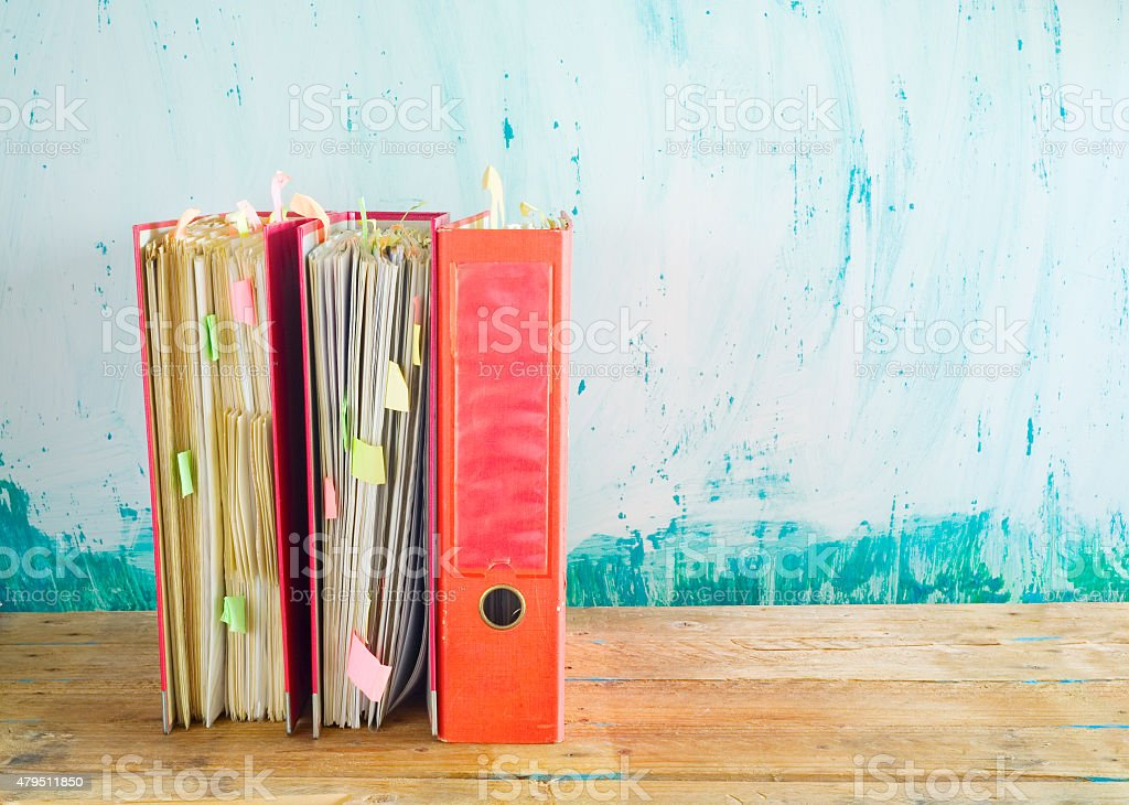 messy file folders, free copy space royalty-free stock photo