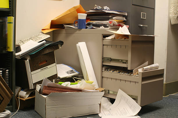 Messy Filing Cabinet stock photo