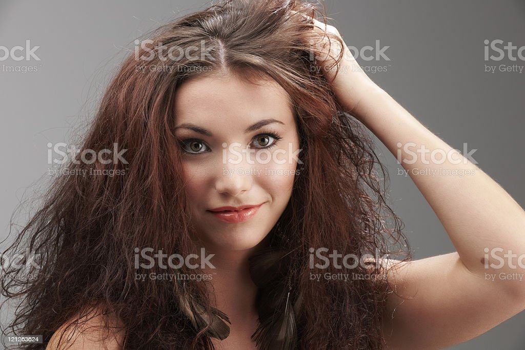 Messy hair royalty-free stock photo