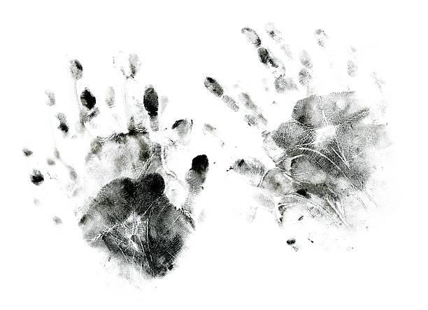 messy handprints - bevlekt stockfoto's en -beelden