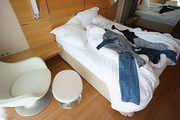 Messy Hotel Room Stock Photo