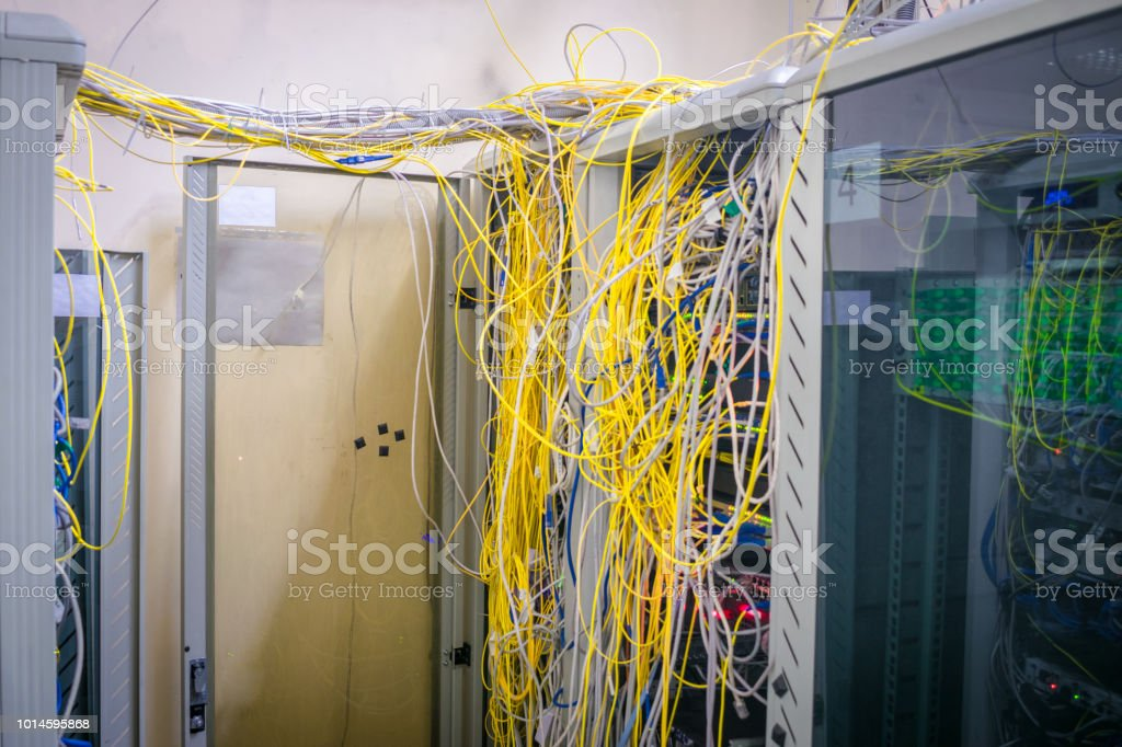 Phenomenal Messy Internet Wires Have A Connection To Computer Servers Cabinets Wiring 101 Mecadwellnesstrialsorg
