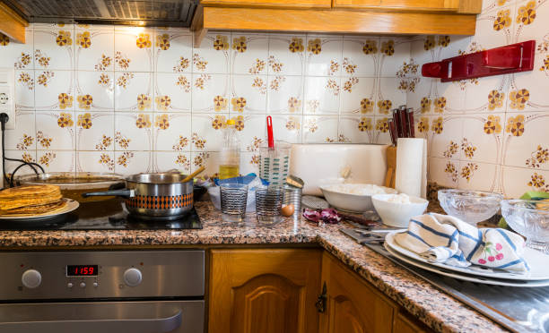 Messy kitchen in domestic household stock photo